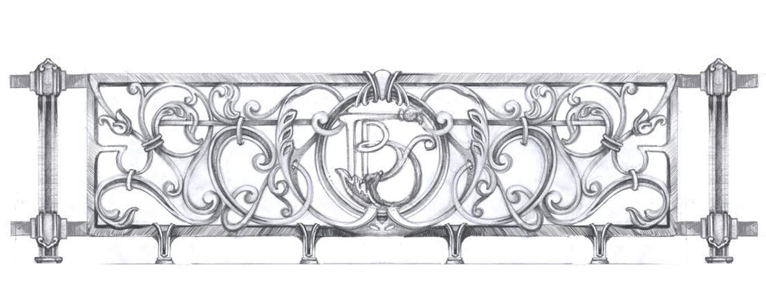 Эскиз ограждения французского балкона. художественное литье..